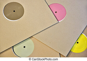 colorful vinyl record labels