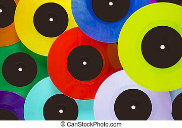 colorful vinyl records seen from above
