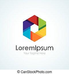 Colorful vision camera focus lens concept elements icon logo
