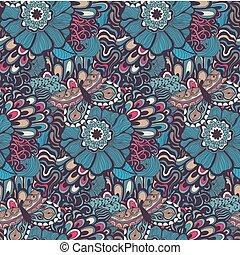 Colorful vivid vector seamless abstract hand-drawn pattern