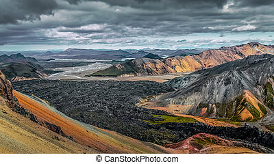 Colorful volcanic landscape with lava flow in Landmannalaugar, Iceland, Europe