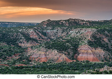 Colorful Walls in palo Duro Canyon at sunset