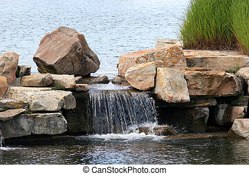 Colorful Water - Mini waterfall lake and colored rocks