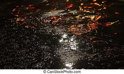 Colorful water surface at night