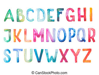 Colorful watercolor aquarelle font type handwritten hand...