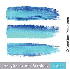 Colorful watercolor brush strokes on canvas, vector...