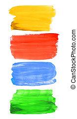 Colorful watercolor brush strokes
