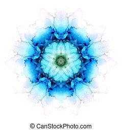 Colorful watercolor flower mandala pattern isolated on white background. Kaleidoscope effect.