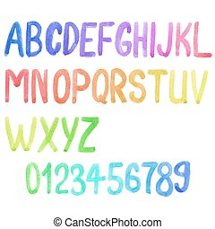 Colorful watercolor font, aquarelle. Vector illustration. Handdrawn alphabet with numbers. doodle letters.