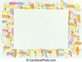 colorful watercolor frame background with blots and drips texture
