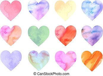 Colorful watercolor hearts