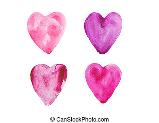 Colorful watercolor hearts isolated on white background