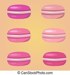 Colorful watercolor macaroons on pink background. Food flat