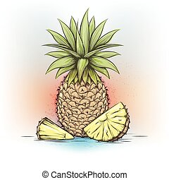 Colorful watercolor pineapple
