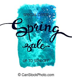 Colorful watercolor poster Spring sale