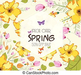 Colorful Watercolor Spring Flowers. Sale off