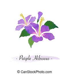 Colorful watercolor texture vector botanic garden flower purple hibiscus
