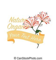 Colorful watercolor texture vector nature botanic garden flower banner orange honeysuckle