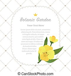 Colorful watercolor texture vector nature botanic garden memo frame yellow evening primrose