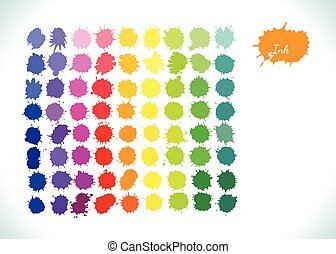 Colorful watercolor vector rainbow splashes set