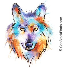 Colorful watercolor wolf's head