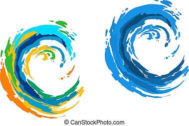 Colorful waves - Two colorful waves for serfing sports or ...