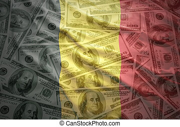 colorful waving belgian flag on a american dollar money background