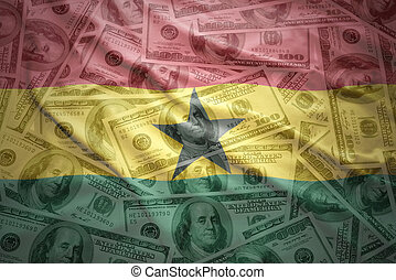 colorful waving ghanaian flag on a american dollar money background