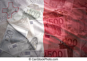 colorful waving maltese flag on a euro money background