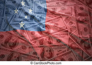colorful waving samoa flag on a american dollar money background