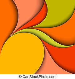 Colorful wavy design. Abstract background. Paper layers