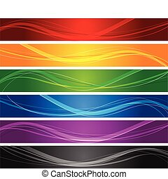 colorful wavy line banners - editable vector banners