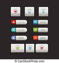 Colorful web button on a dark background