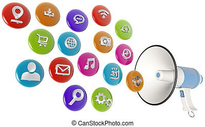 colorful web icons spilling out of a megaphone, 3d...