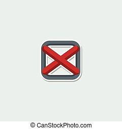 Colorful web symbol - red cross mark