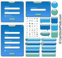 Colorful web template with forms, bars and buttons.