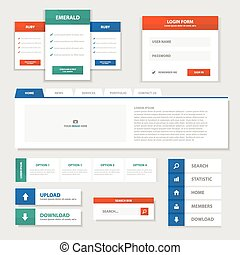 Colorful website template with label elemets and photos.