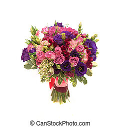 Colorful purple pink vinous colored wedding bouquet isolated on white background
