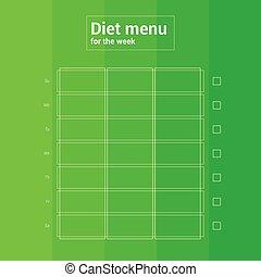 Colorful weekly calendar, meal planning menu. Breakfast lunch dinner.