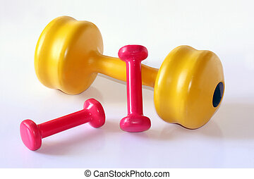 colorful weights - composition of diffrent dumb bells