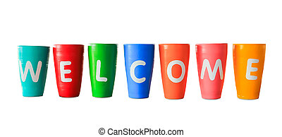 colorful welcome jars isolated with clipping path