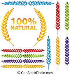 An image of a colorful wheat icon set.