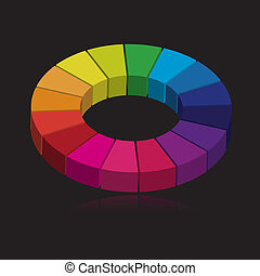 Colorful wheel in 3d - Vector - 3D colorful round wheel...