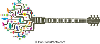 funky guitar - Colorful, whimsical, funky guitar in vector...