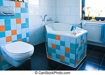 Colorful white and blue bathroom - White bathroom, black...