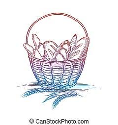 Colorful wicker basket of bread goods