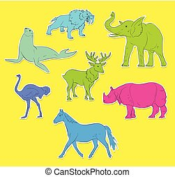Colorful Wild Animals Stickers Collection Vector