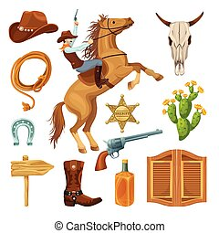 Colorful Wild West Elements Set - Colorful wild west ...