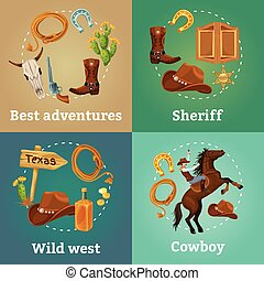 Colorful Wild West Square Composition - Colorful wild west ...