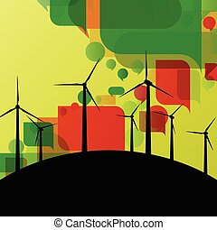 Colorful wind electricity generators and windmills detailed ecology electricity silhouettes illustration collection background